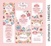 set 3 of wedding cards. wedding ... | Shutterstock .eps vector #146601401