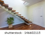 Bright space - an elegant modern staircase - stock photo