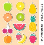 stickers of hand drawn fruits... | Shutterstock .eps vector #1466075111