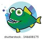 big angry fish cartoon vector... | Shutterstock .eps vector #146608175