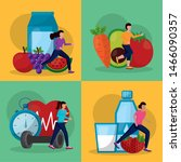 people and healthy lifestyle... | Shutterstock .eps vector #1466090357