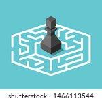 isometric black chess pawn... | Shutterstock .eps vector #1466113544