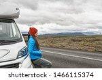 Rv Camper Trailer Travel Woman...