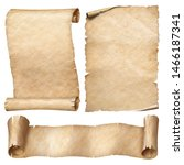 Small photo of Vintage paper or parchment scrolls set isolated on white