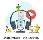 young people in headset... | Shutterstock .eps vector #1466201987