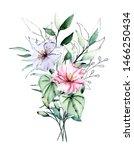watercolor tropical flowers ... | Shutterstock . vector #1466250434