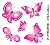 Pink Butterflies Design Vector
