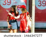 Employees in vodafone t shirt...