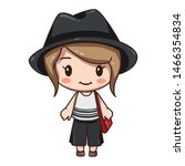 Vector illustration of cute chibi character isolated on white background.  Cartoon little girl in grey hat, white blouse and black trousers.