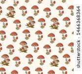 Amanita Red Mushroom With Whit...