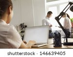 woman working on her laptop in... | Shutterstock . vector #146639405