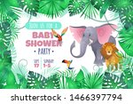 tropical baby shower. elephant... | Shutterstock . vector #1466397794