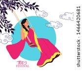 Teej Festival India. Woman...