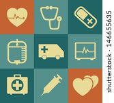 medical icons on retro... | Shutterstock .eps vector #146655635