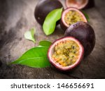 Passion Fruits On Wooden...