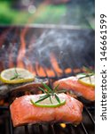 salmon fillets on the grill... | Shutterstock . vector #146661599