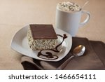 Poppy seed cake with latte - stock photo