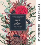 vintage wedding card with... | Shutterstock .eps vector #1466691161