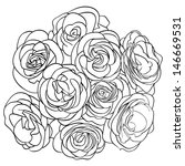 bouquet of roses. outline | Shutterstock . vector #146669531