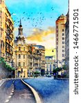 Beautiful Digital Watercolor Painting of the Victoriei Avenue in Bucharest, Romania.
