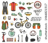set of hand drawn bicycle...   Shutterstock .eps vector #1466821517