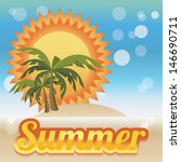 summer holiday card with palm... | Shutterstock .eps vector #146690711