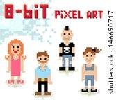 cute 8 bit pixel character set... | Shutterstock .eps vector #146690717
