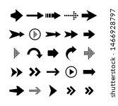 black arrows set on white... | Shutterstock .eps vector #1466928797