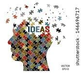 Stock vector black puzzle head business concept vector 146696717
