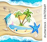 summer beach with palm trees ... | Shutterstock . vector #146705669