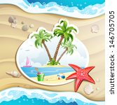 summer beach with palm trees ... | Shutterstock . vector #146705705