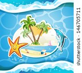 summer beach with palm trees ...   Shutterstock . vector #146705711
