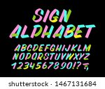 hand drawn colorful typeface on ... | Shutterstock .eps vector #1467131684