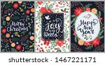 set of hand drawn merry... | Shutterstock .eps vector #1467221171