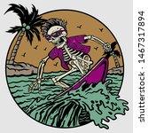 Summer Skeleton On Surfing...