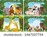 set of various animals in... | Shutterstock .eps vector #1467337754