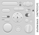 gray interface buttons. 3d set...