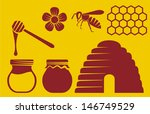 bee and honey icons (beehive, bee icon, honey symbol, honey pot, honey icons collection, honey combs, honey dipper)