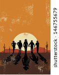 cowboys walking towards at... | Shutterstock .eps vector #146755679