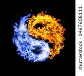 fire yin yang symbol  orange... | Shutterstock . vector #1467608111