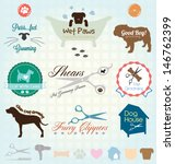 Vector Set  Retro Pet Grooming...