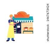 seller man farm products shop...   Shutterstock .eps vector #1467673424