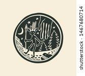 black and white tribal round... | Shutterstock .eps vector #1467680714