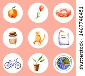 set of watercolor icons. hand... | Shutterstock . vector #1467748451