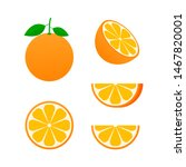 orange whole and slices of...   Shutterstock . vector #1467820001