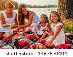 Family Having Picnic By Summer...