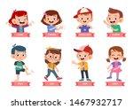 kids pointing body part vector... | Shutterstock .eps vector #1467932717