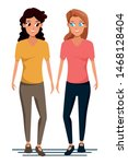 young women couple smiiling and ... | Shutterstock .eps vector #1468128404