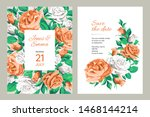 wedding invitation card. frame... | Shutterstock .eps vector #1468144214