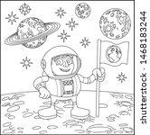 A Space Cartoon Coloring Scene...